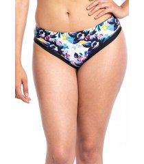 bikini calzón tanga tiro alto flores negro samia