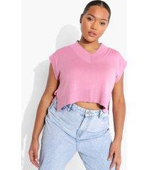 plus gebreid kort hemdje met v-hals, dusky pink