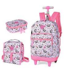 kit mochila infantil com rodinhas lancheira e estojo 100 pens panda up4you
