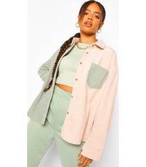 cord colour block oversized shirt, sage