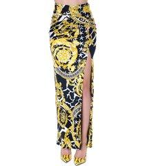 versace savage baroque print long skirt