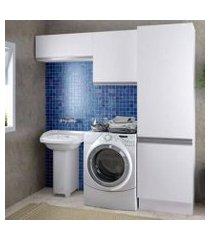 kit área de serviço madesa acordes glamy 100% mdf com 2 armários e torre branco branco