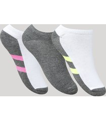 kit de 3 meias femininas soquete com listras multicor