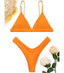 spaghetti straps soft pad thong bikini set