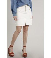 saia de sarja feminina cargo com pespontos off white