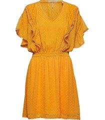 lace dress with ruffles and pom-poms korte jurk geel scotch & soda