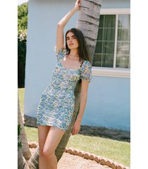 womens floral print mesh dress with square neckline - blue