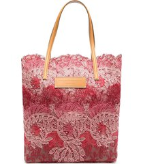 ermanno scervino seeds of love lace shopping tote - pink