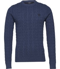 kramer regular crew neck knit stickad tröja m. rund krage blå henri lloyd