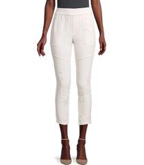 james perse women's patch linen & cotton pants - calcite - size 0 (xs)
