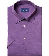 men's eton soft casual line slim fit pique polo shirt, size small - purple
