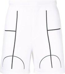 blackbarrett court line track shorts - white