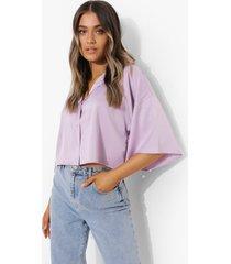 korte oversized satijnen blouse, lilac