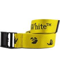off-white yellow logo-print belt