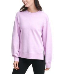 dkny sport cotton side-zip cropped top