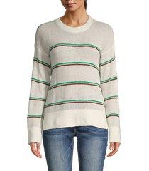 joie women's striped roundneck sweater - porcelain - size s