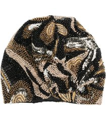 maryjane claverol amazona bead-embellished turban hat - black