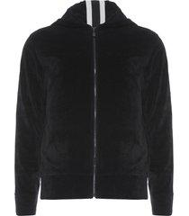 casaco masculino plush stripe hoodie - preto
