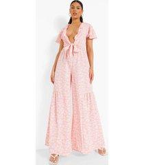 bloemenprint wide leg jumpsuit met laag decolleté, pink