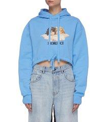 vintage angel print crop hoodie