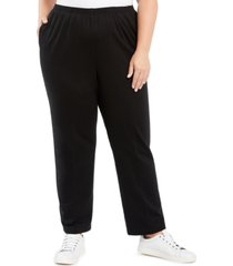 alfred dunner plus size well red pull-on knit pants
