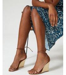 amaro feminino sandália anabela com vinil, caramelo