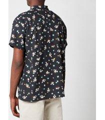 ymc men's malick floral seersucker short sleeve shirt - black - xl