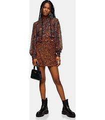 tall leopard print corduroy buckle skirt - multi