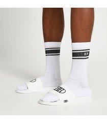 river island mens white embossed sliders and socks set