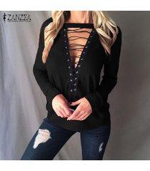 zanzea de mujeres gargantilla v profundo ata para arriba el suéter del puente de la blusa casual tapas de la camisa más el tamaño -negro