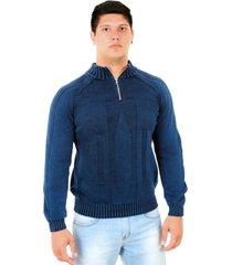blusa officina do tricô itália azul