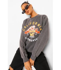 california slogan oversized washed sweatshirt