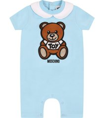 moschino light blue romper for babyboy witth teddy bear