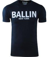 ballin est. 2013 heren t-shirt ronde hals regular fit navy
