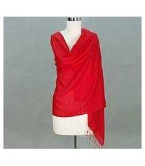wool and silk shawl, 'kashmiri scarlet' (india)