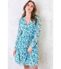 jurk met bloemen dames turquoise