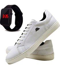 sapatênis sapato casual com relógio led dubuy t10db branco