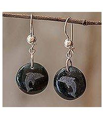 jade dangle earrings, 'love of nature - dolphin' (guatemala)