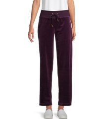 calvin klein women's wide-leg velour pants - aubergine - size l