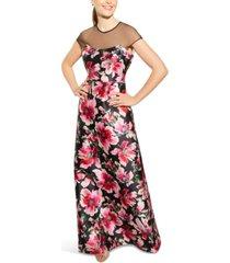 adrianna papell illusion-yoke printed mikado gown