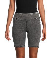 marc new york performance women's mid-rise denim-effect bike shorts - black - size xl