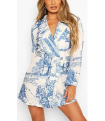 landscape print belted double breasted blazer dress, navy