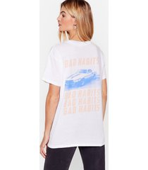 womens bad habits relaxed graphic tee - white