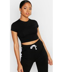 cropped capped sleeve t-shirt, black