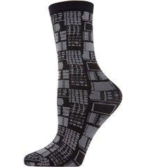 natori women's woven geo crew socks