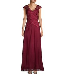 cap-sleeve v-neck gown
