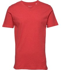 alder basic v-neck tee - gots/vegan t-shirts short-sleeved röd knowledge cotton apparel