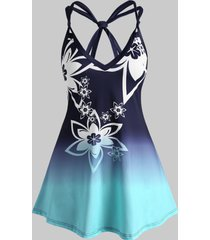 knots floral ombre plus size tunic top