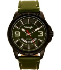 wrangler men's watch, 48mm black ridged case with green zoned dial, outer zone is milled with white index markers, outer ring has is marked with white, analog watch with red second hand and crescent