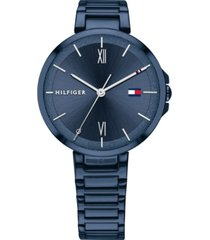 tommy hilfiger women's blue stainless steel bracelet watch 34mm